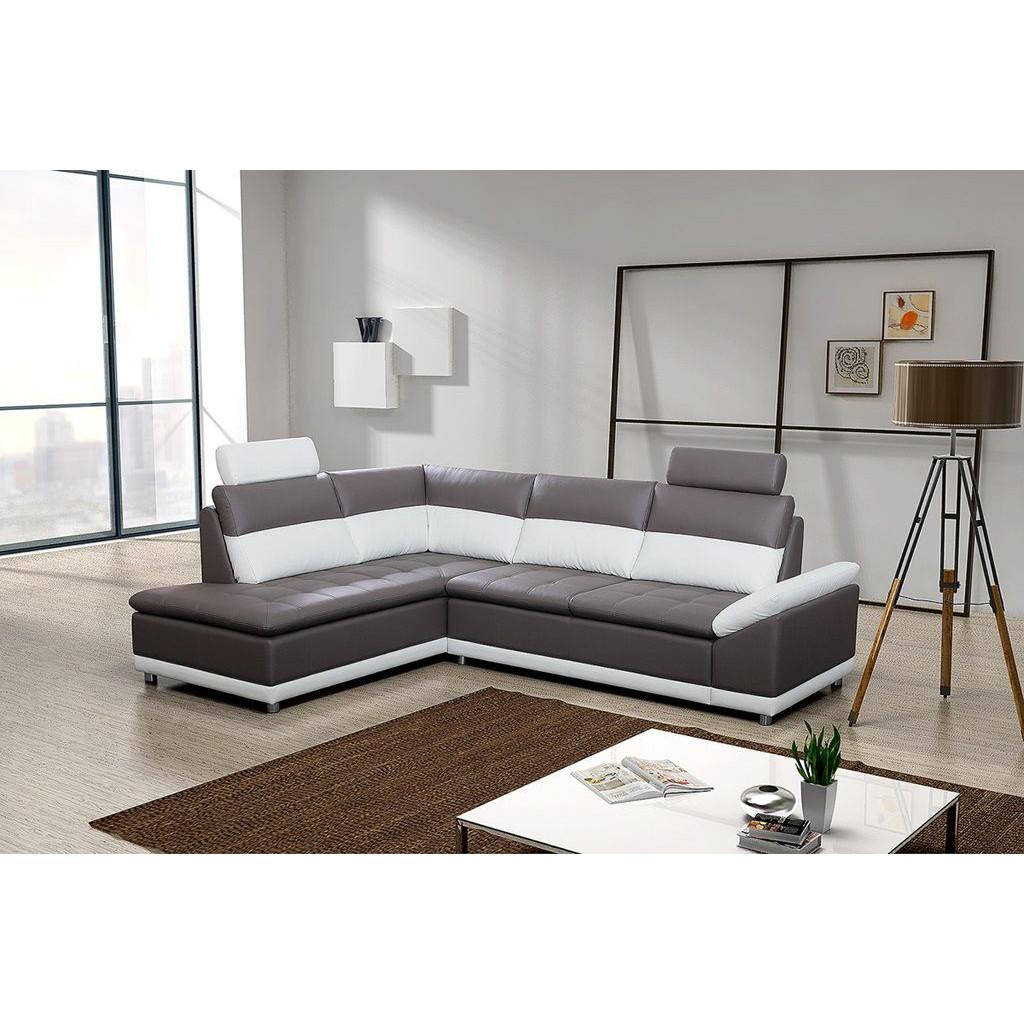 Canapé d'angle gauche en simili cuir de coloris gris et blanc