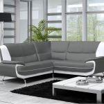 Canapé Angle Gris Et Blanc Canapé Moderne Simili Cuir Jenna Réversible Gris Noir