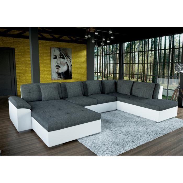 Grand canapé d angle en U SMILE gris et blanc Achat