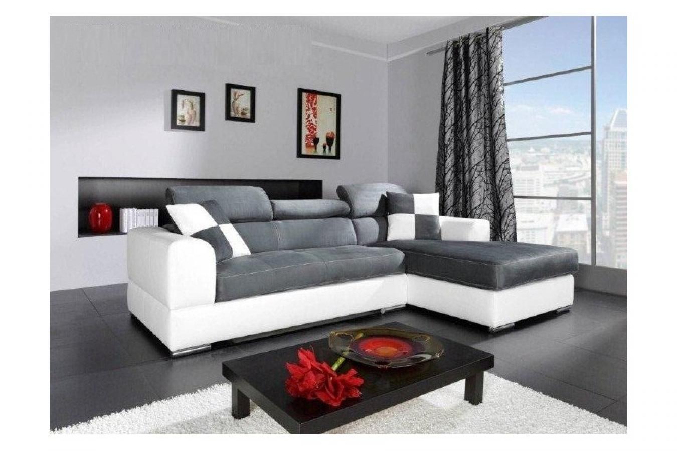 s canapé d angle gris et blanc
