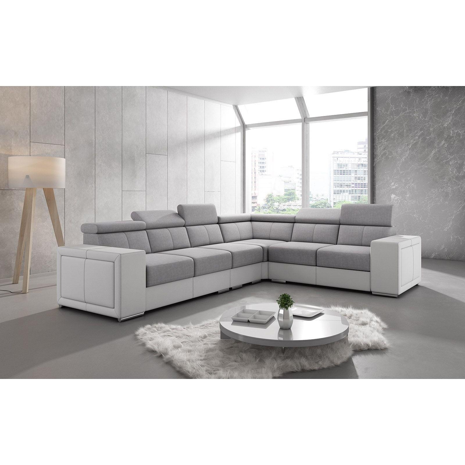Salon Canapé d'angle réversible moderne en tissu gris