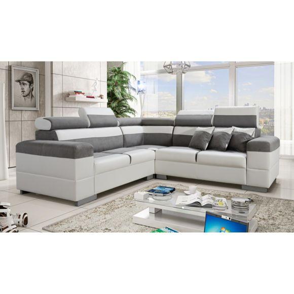 TOPDECO Canapé d angle Colorado gris et blanc avec