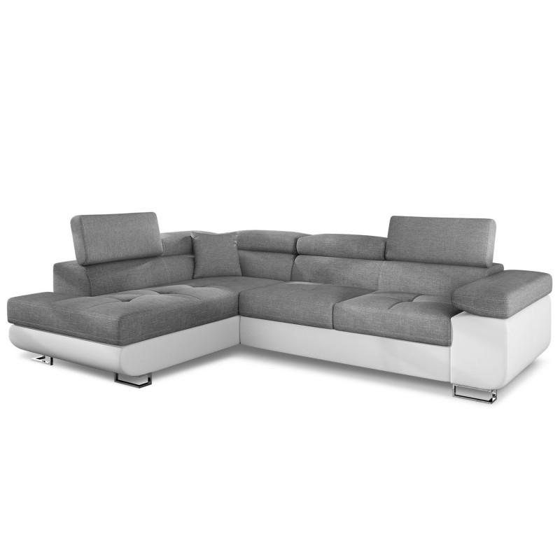 Canapé angle gauche avec têtière simili blanc et tissu