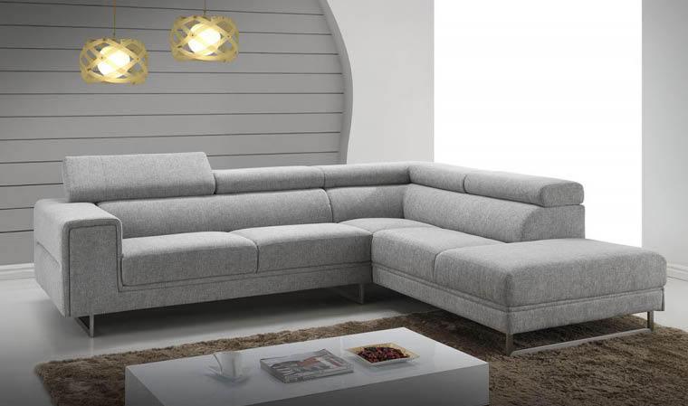 Canapé d angle avec appui tête en tissu gris clair