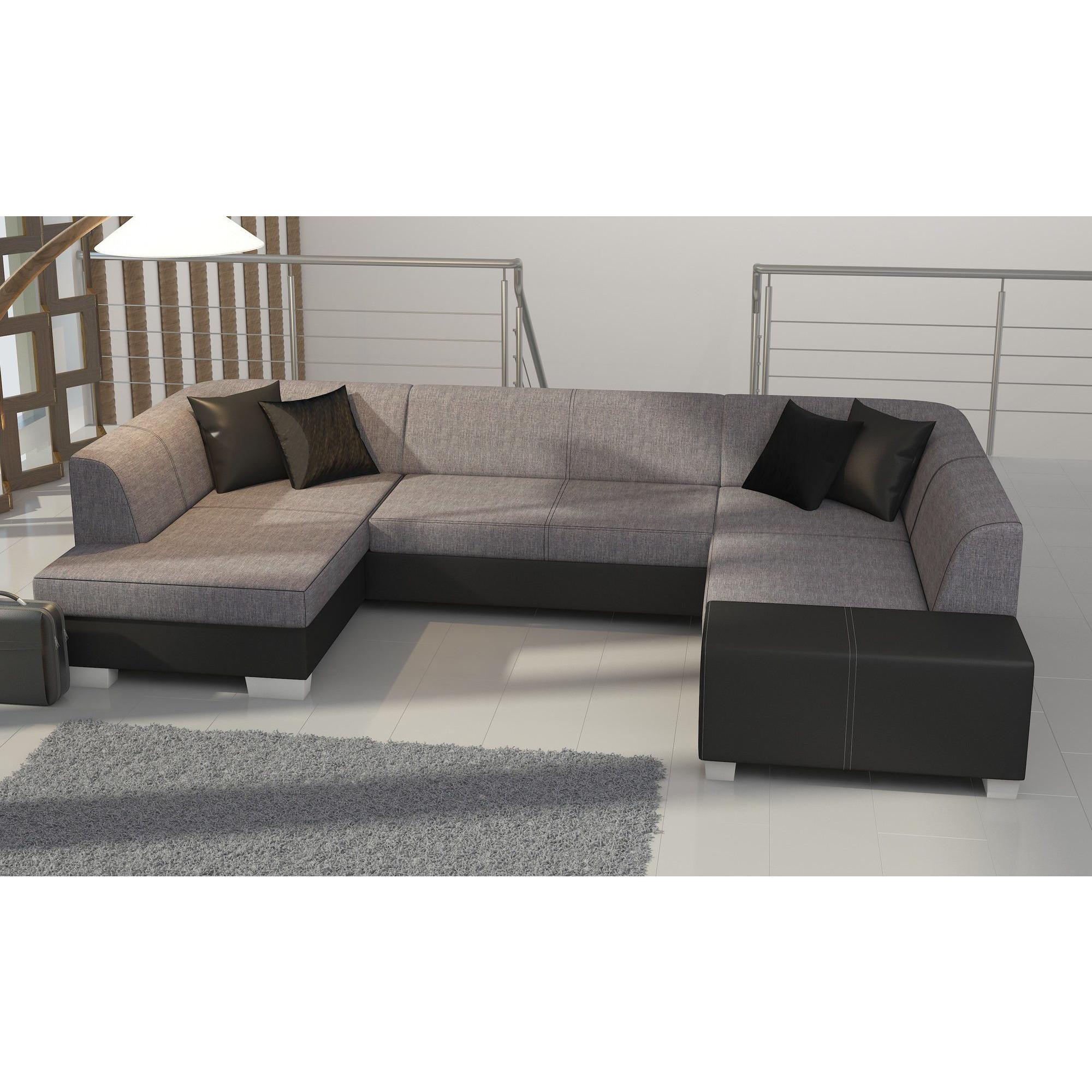 Canapé d angle convertible 4 places en tissu gris