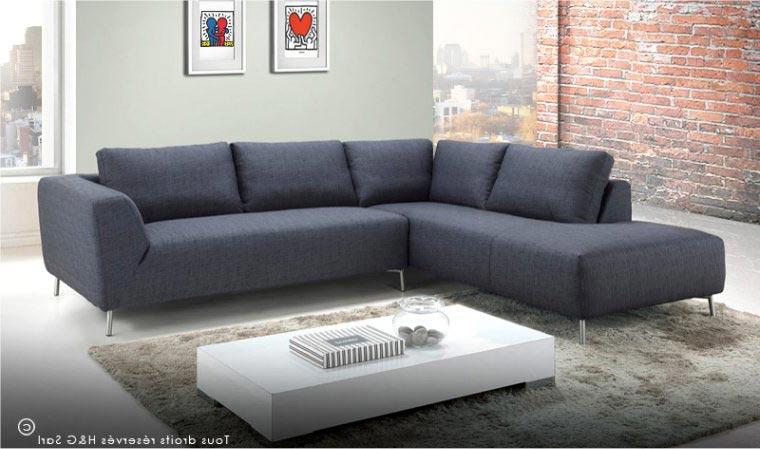 Canapé d angle en tissu gris foncé design moderne