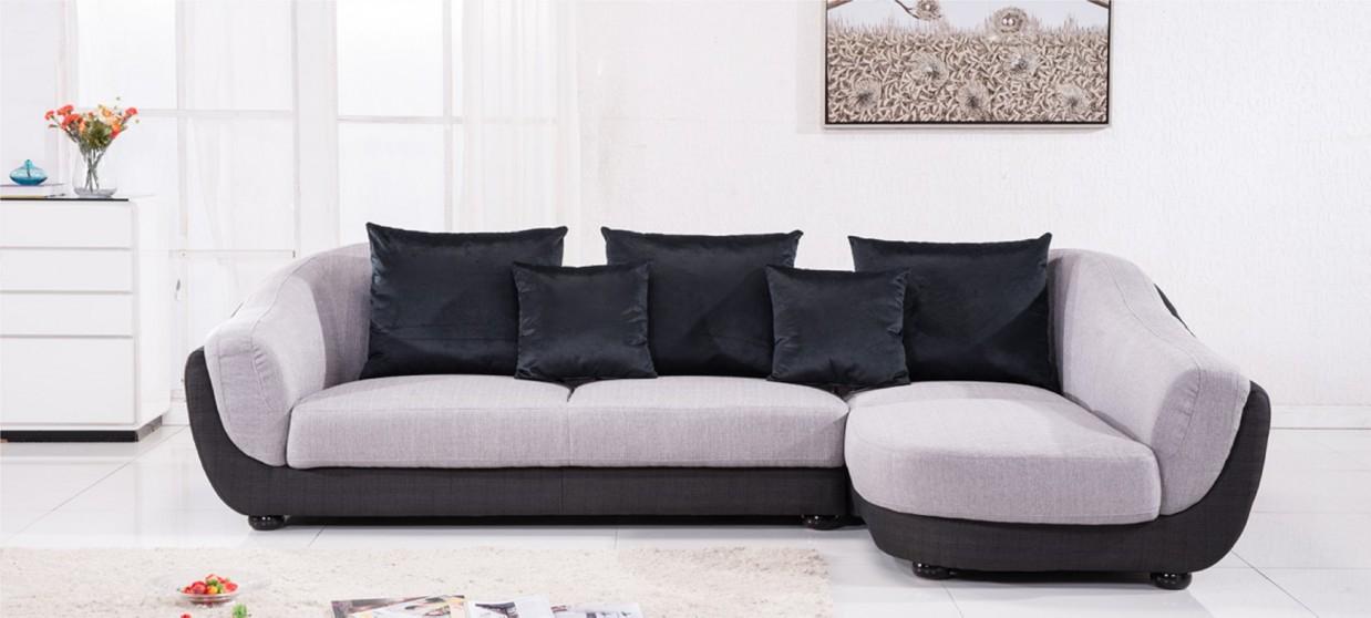 Canapé d Angle en Tissu gris
