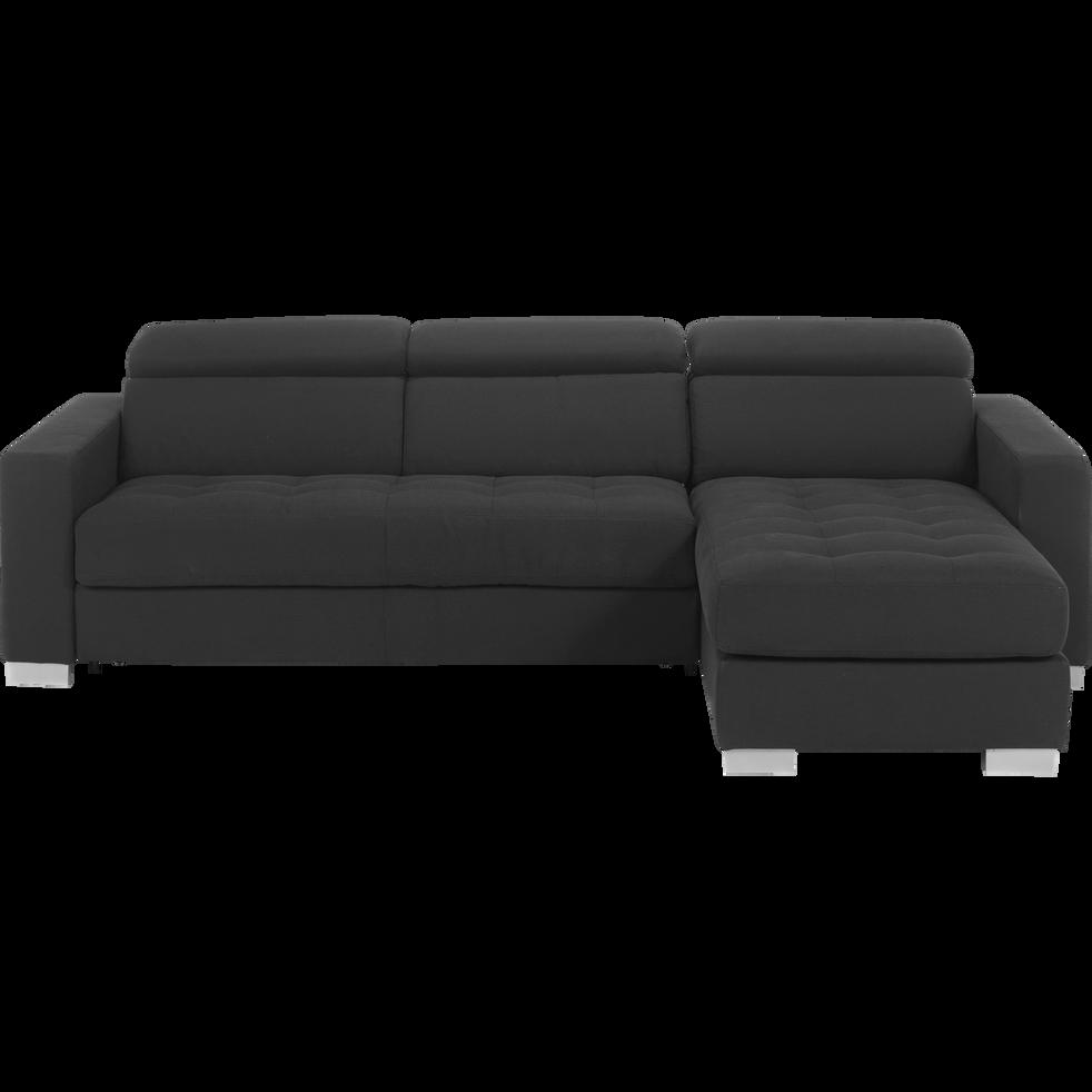 Canapé d angle réversible convertible en tissu gris foncé