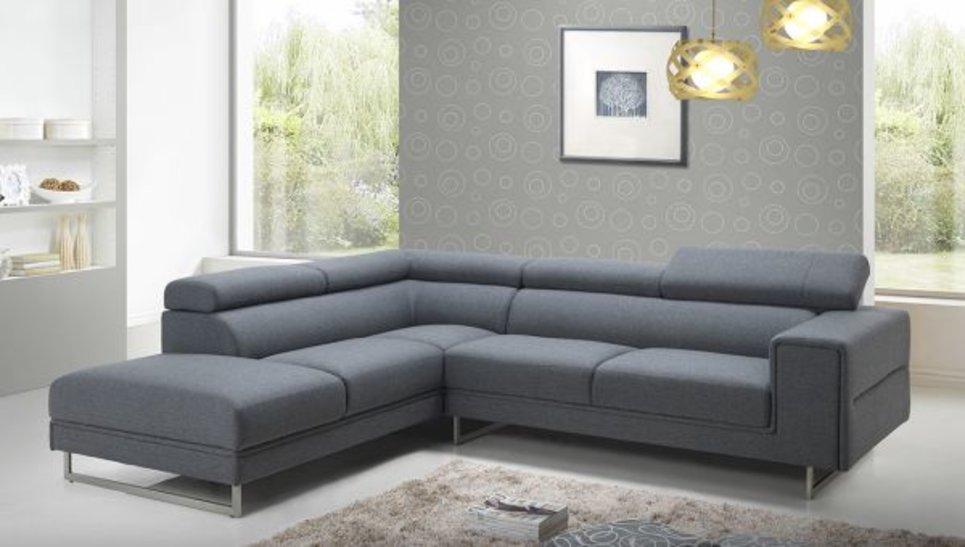 Canapé d angle XXL en tissu gris foncé avec coussins inclus
