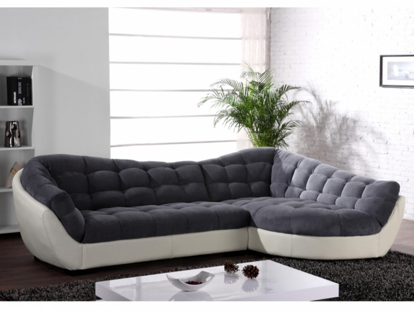 s canapé d angle tissu gris et blanc