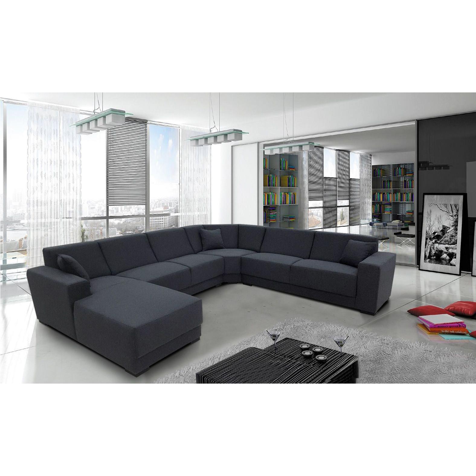 Salon Canapé d angle moderne en tissu coloris gris foncé