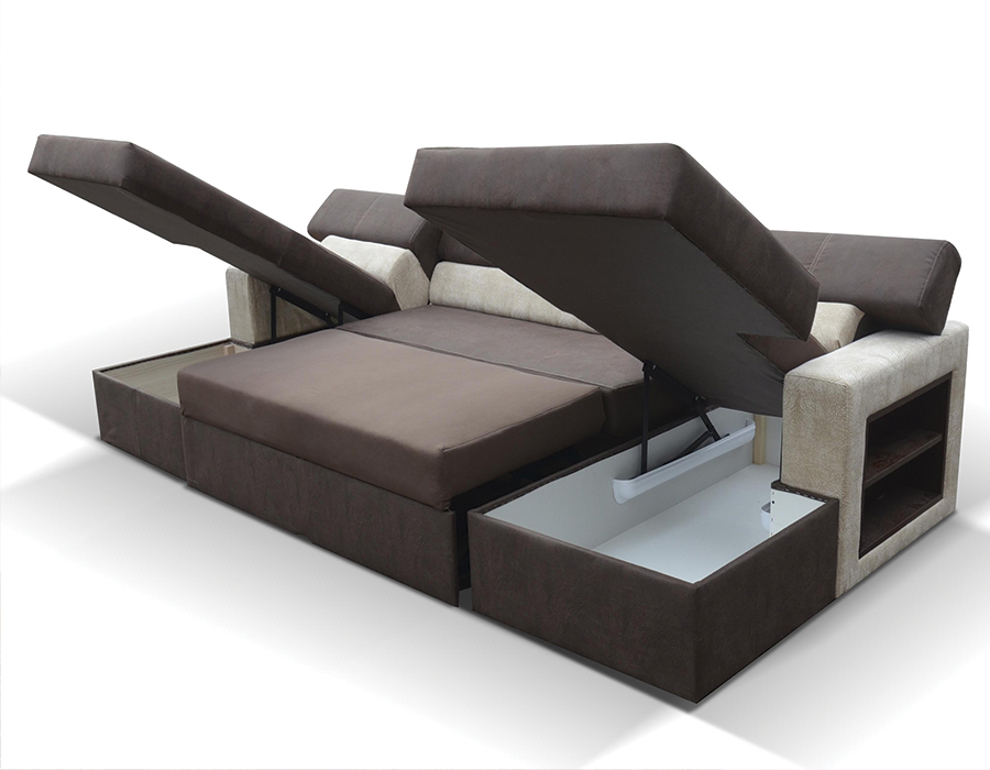 canap d angle panoramique convertible avec 2 rangements