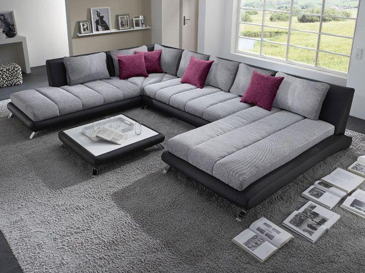 Canapé d angle panoramique gris et noir LUBERON 5