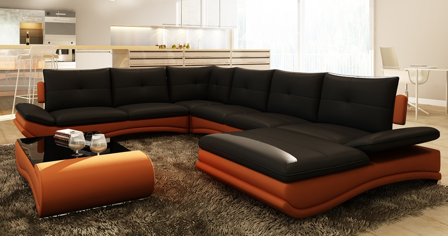 DECO IN PARIS Canape d angle design panoramique noir et