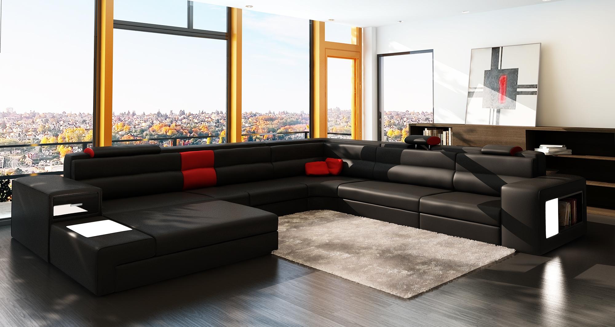DECO IN PARIS Canape panoramique cuir angle gauche noir