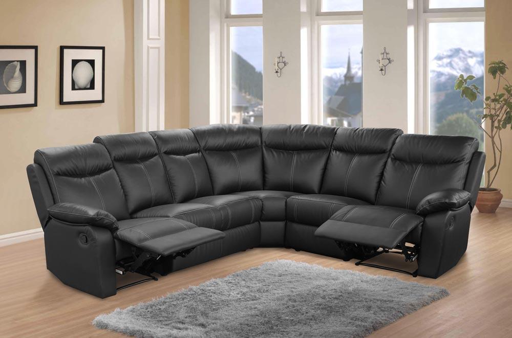 Canapé cuir d angle relax VICTORY noir