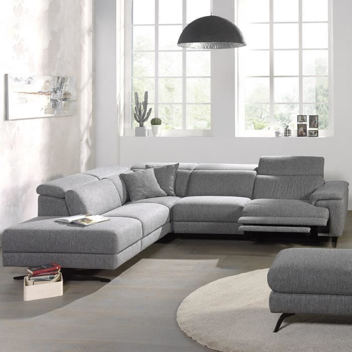 Canape d angle relax en tissu gris MELAINE Méri nne à