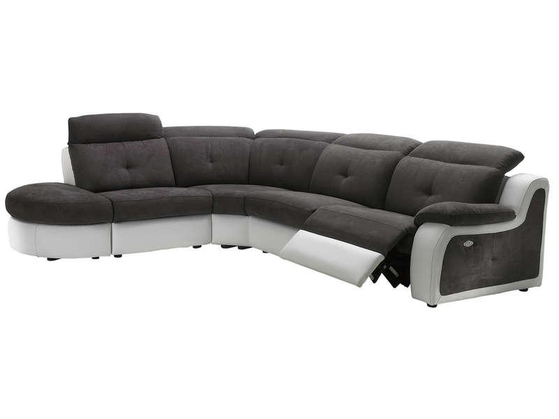 Canapé d angle relaxation électrique 5 places en tissu