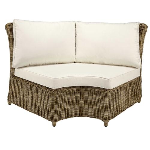 Angle rond de canapé de jardin en résine tressée grisée et