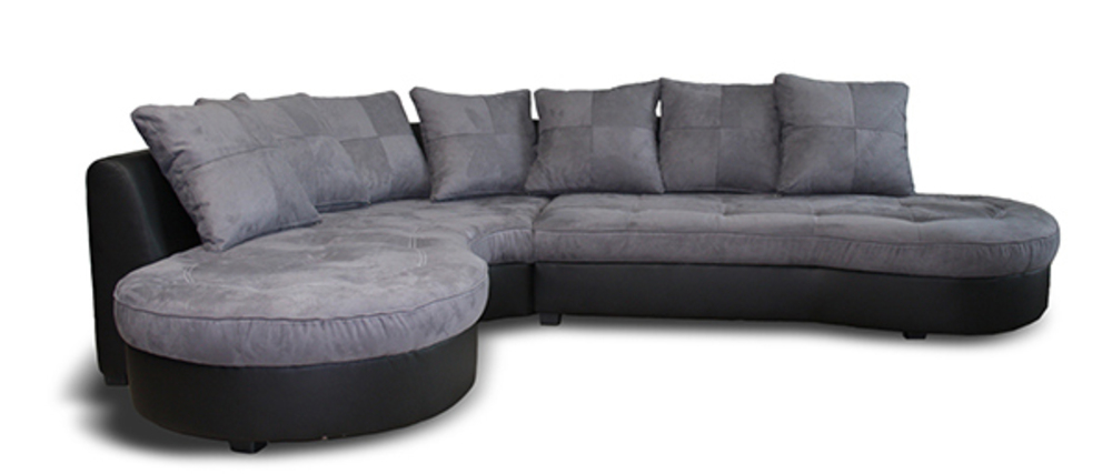 Canapé d angle à gauche Jalis Pu noir microfibre grise