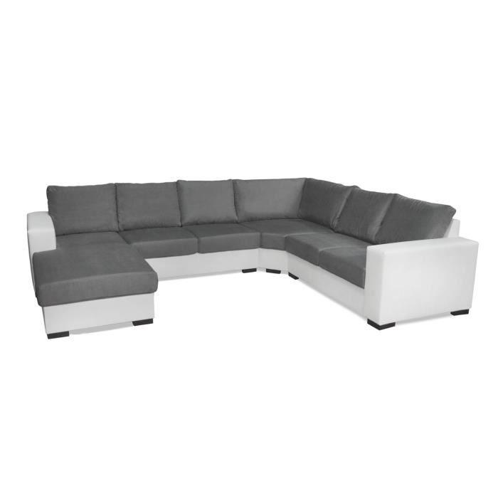 Canapé d angle 6 places OARA en U pas cher gris et blanc