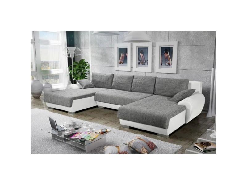 Canapé d angle en u convertible teren gris et blanc