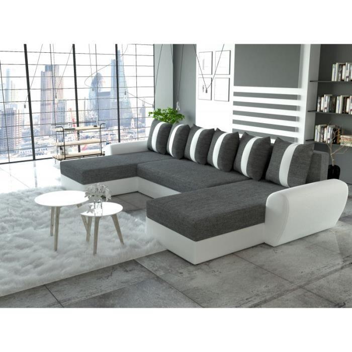 Canapé d angle en u convertible TIGER gris blanc simili