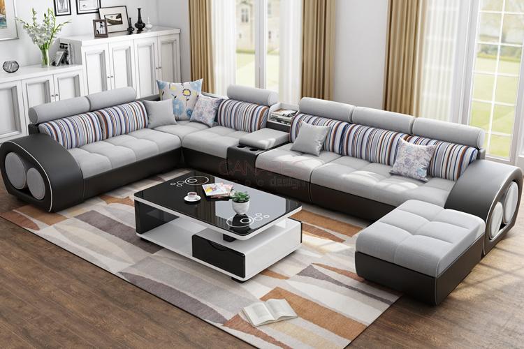 Canapé d angle modulable en U en Tissu et simili cuir PU