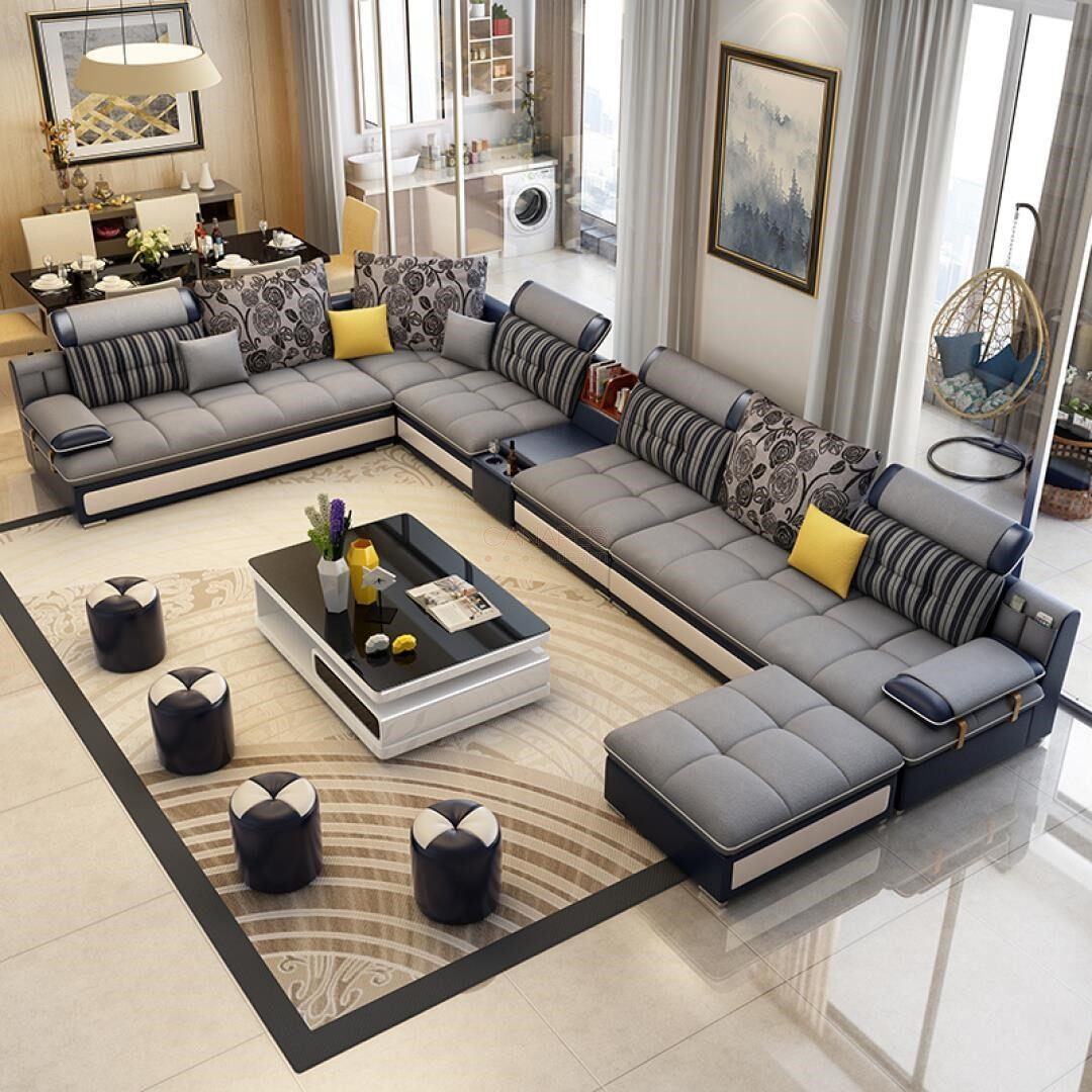 Canapé d angle modulable en U en Tissu gris et simili cuir