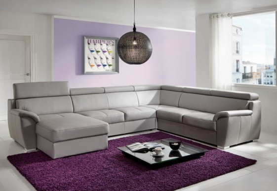 Grand canapé d angle Shane en U 6 places cuir ou tissu