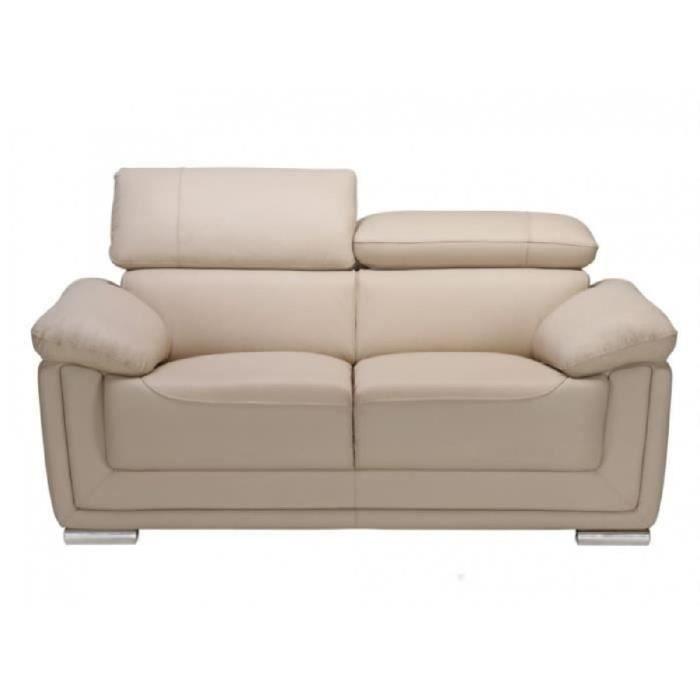 Canapé 2 places cuir de vachette MISHKA Beige Achat