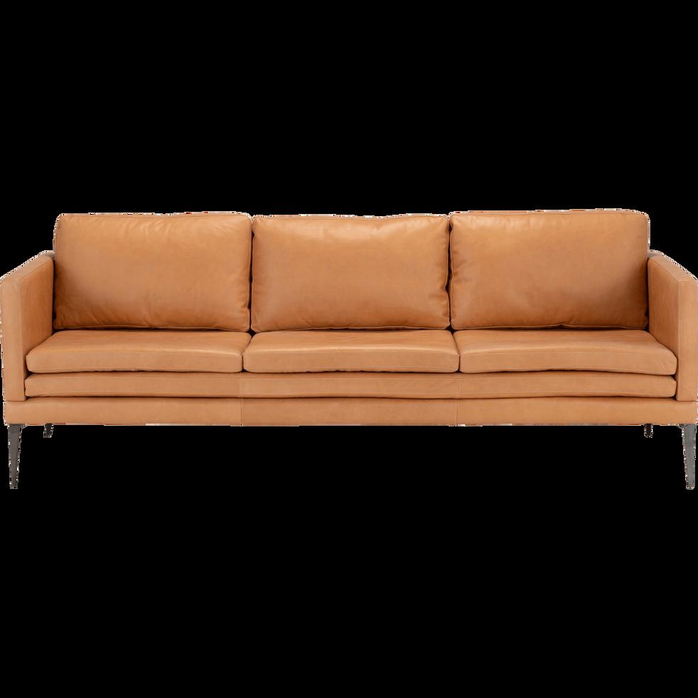 Canapé 3 places fixe cuir aniline beige esterel PALMIE