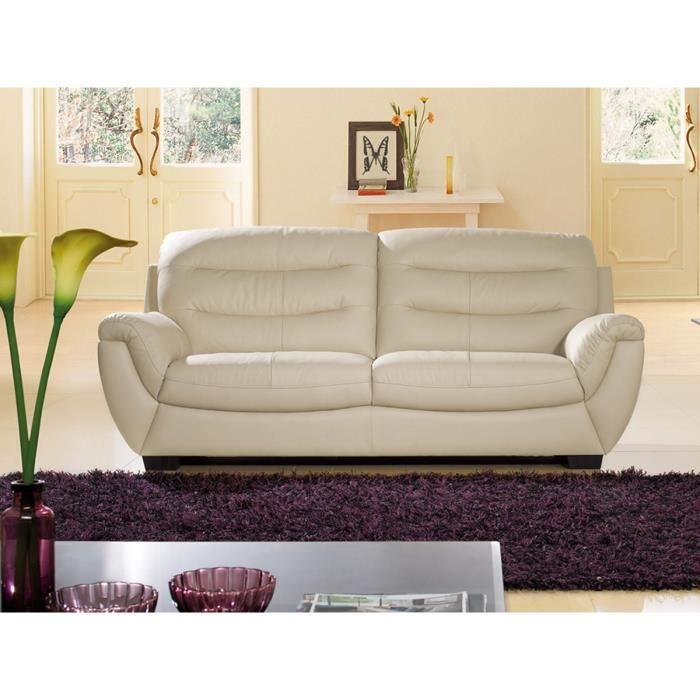 Canapé cuir beige Mundu