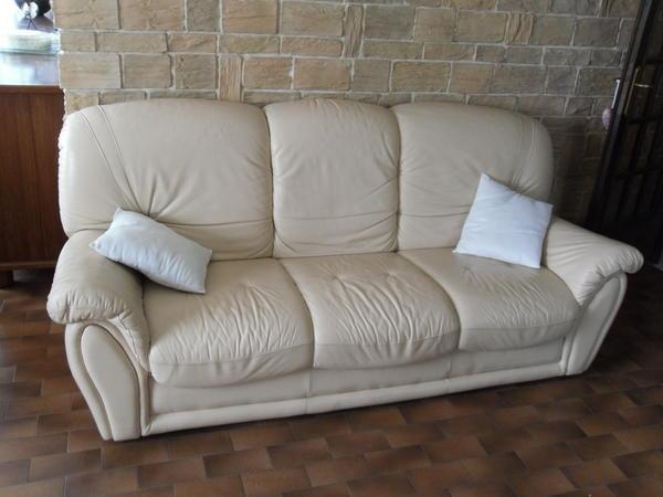 Canapé cuir beige