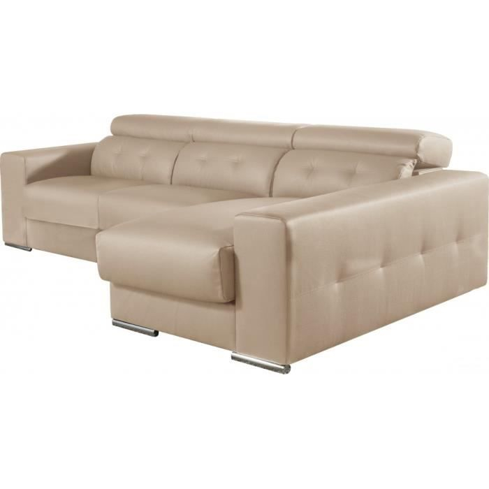 Canapé d angle cuir beige relax têtières réglab Achat