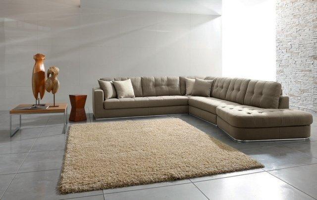 Canapé Beige Cuir Canapé D Angle Dans Le Salon Pour Plus De Confort à La Maison