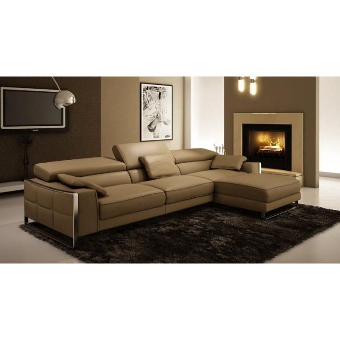 Canapé d angle en cuir design beige EMMA Achat Vente