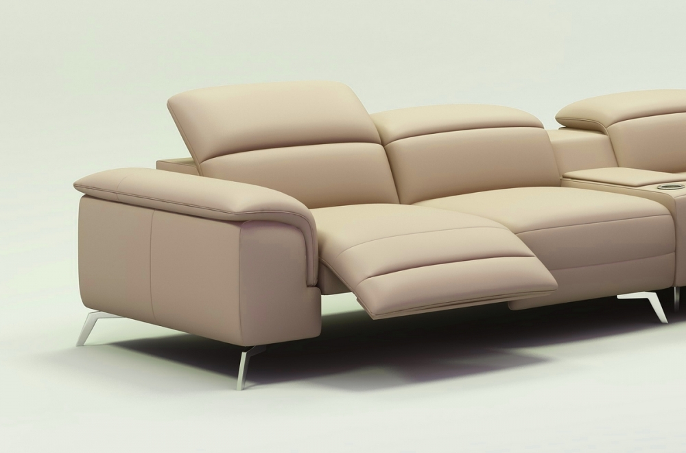Canapé d angle en cuir italien 5 places relaxia beige
