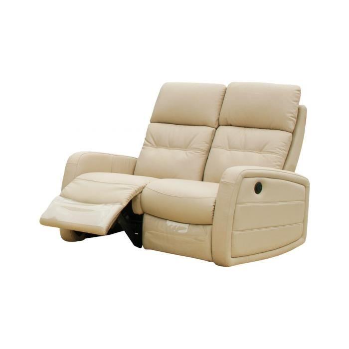Canapé relax électrique MARCO cuir beige 2 places Achat