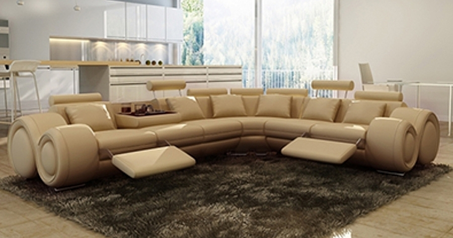 DECO IN PARIS Canape d angle cuir beige positions relax