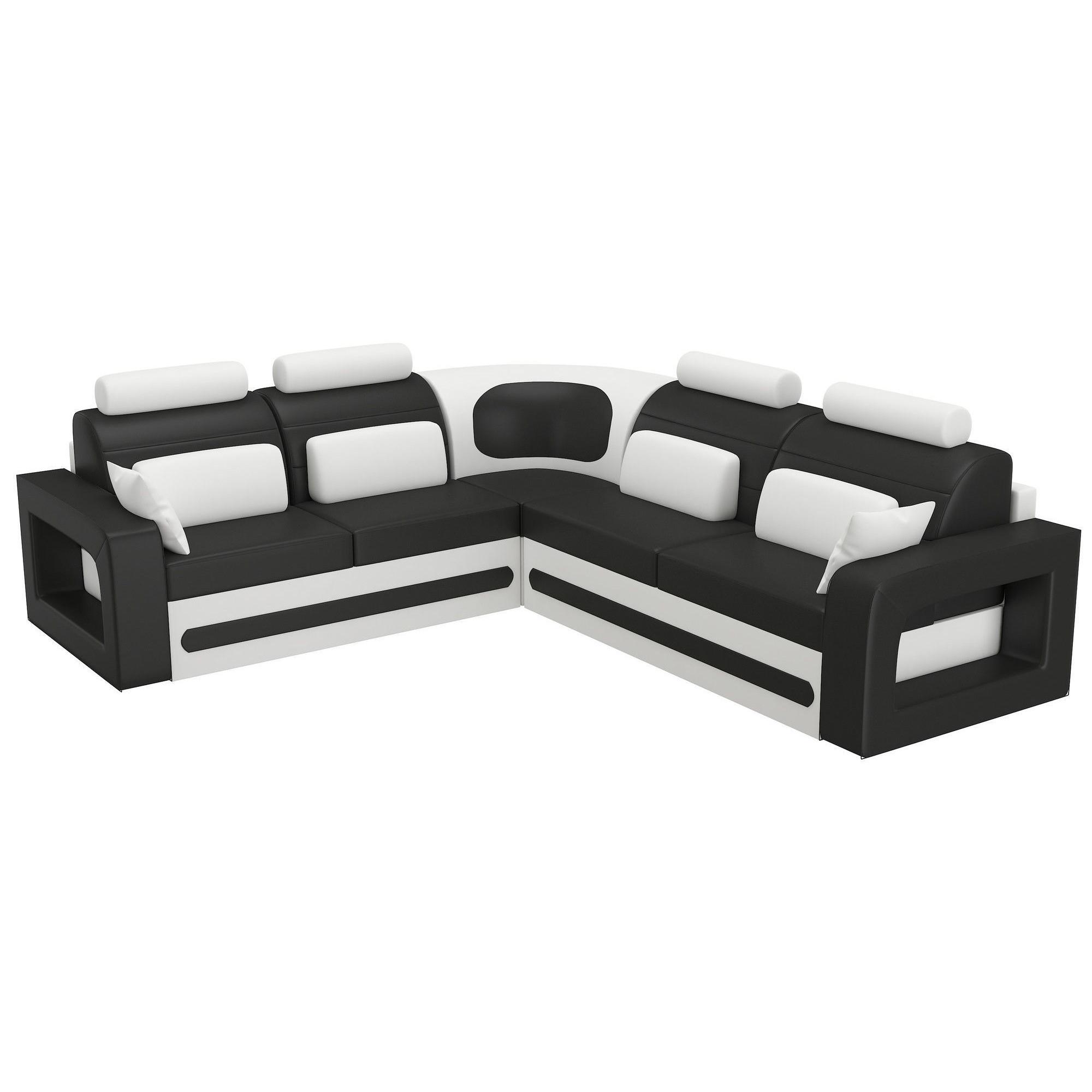 Canapé d angle convertible 5 places en pvc noir et blanc