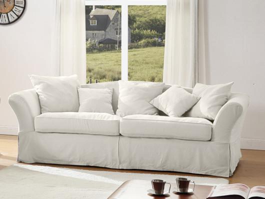 Canapé et fauteuil en tissu lin et coton TORGEN Blanc cassé