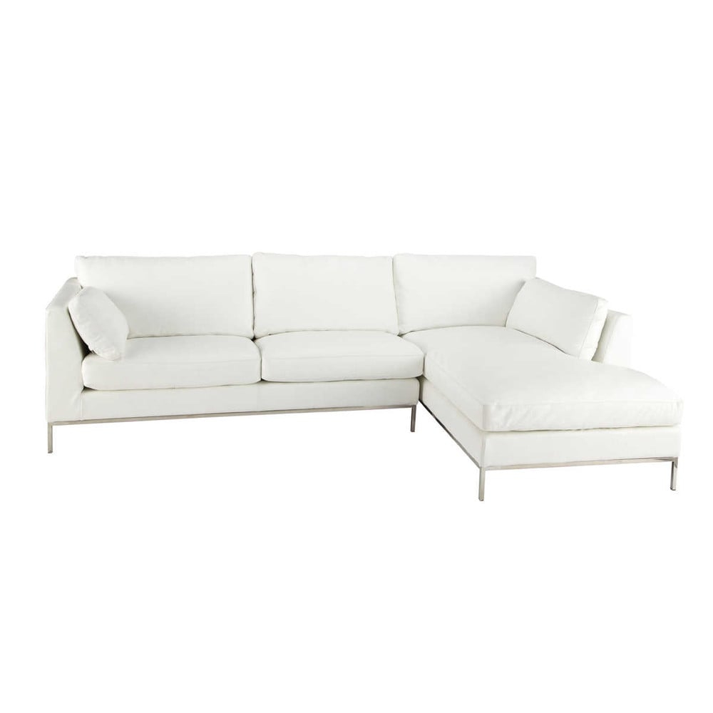 Canapé d angle 5 places fixe cuir blanc San Francisco