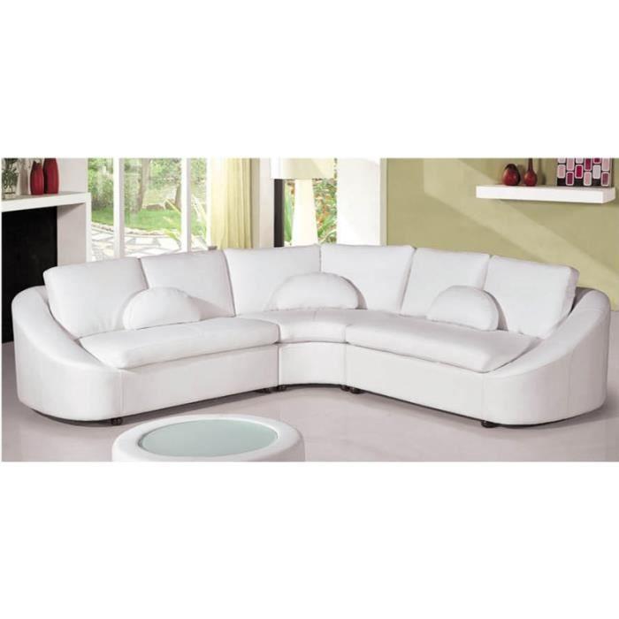 Canapé d angle design en cuir blanc arrondi Achat