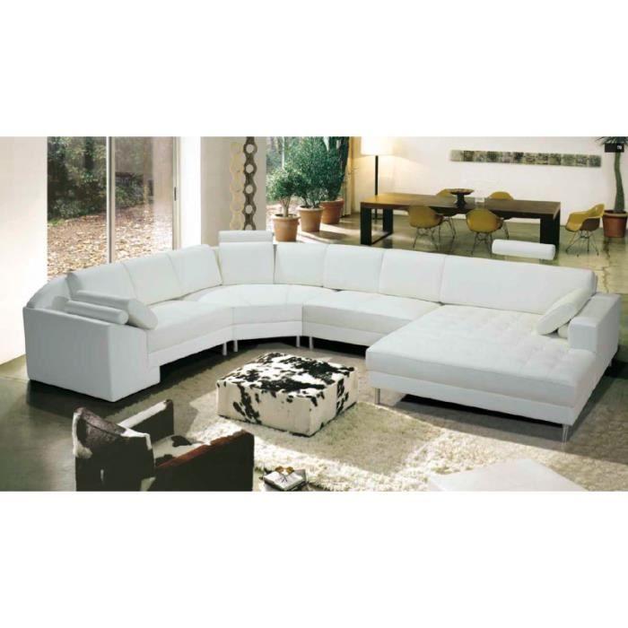 Canapé d angle droit panoramique cuir blanc Achat
