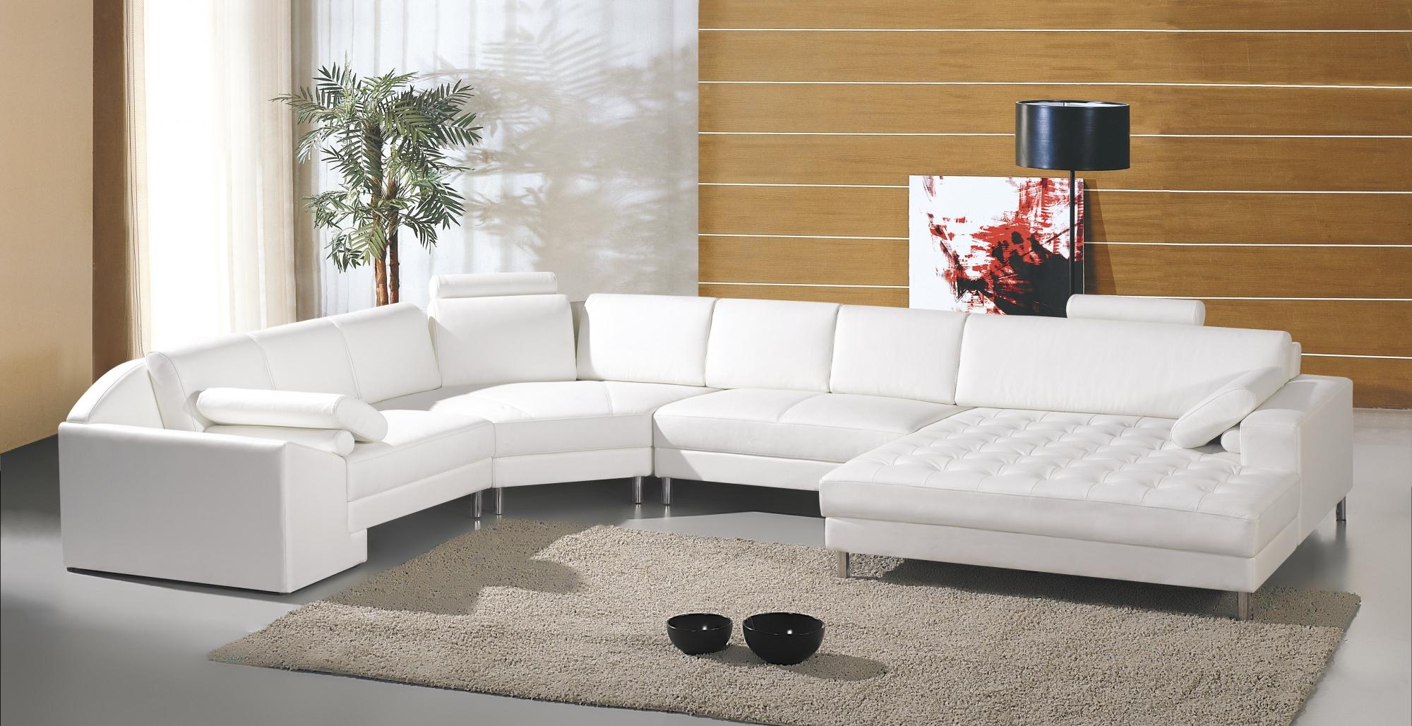 DECO IN PARIS Canape panoramique cuir blanc houston can
