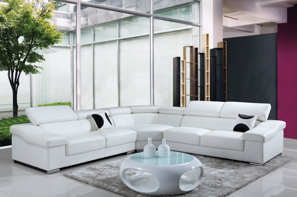 DECO IN PARIS Grand canape d angle cuir blanc tetieres