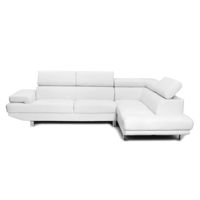 Miliboo Canapé d angle en cuir blanc avec têt… Achat