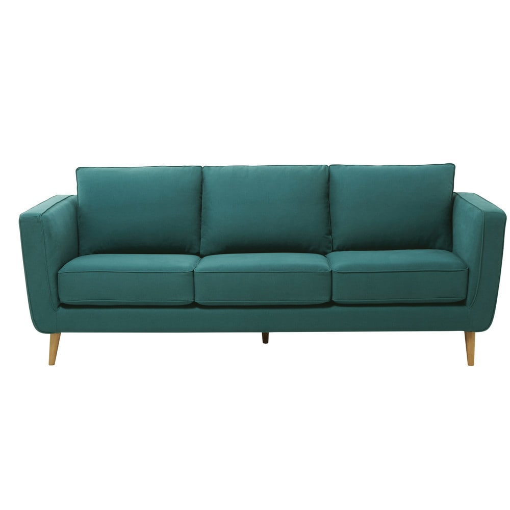 Canapé 3 4 places en tissu Kendo bleu canard Nils