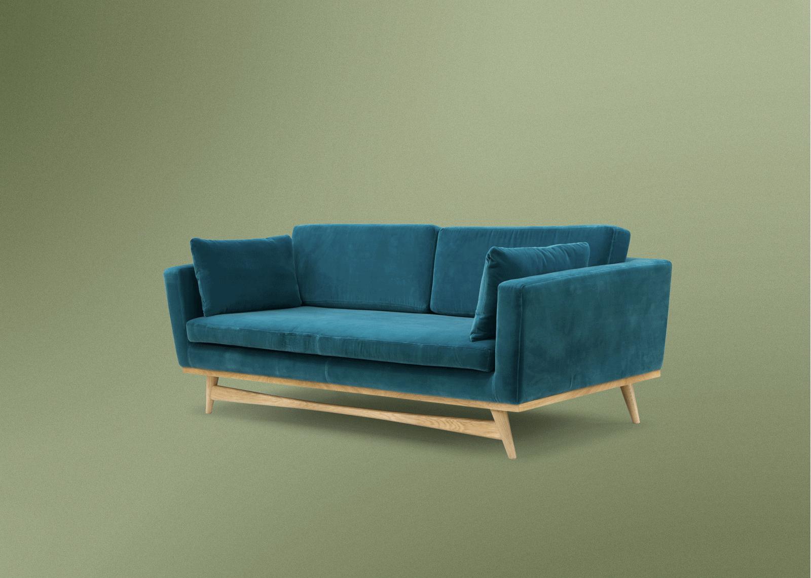 Canapé Design 210cm Velours Bleu Canard